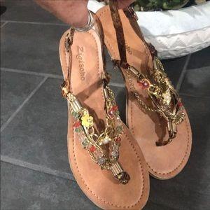 Zigi Soho Gorgeous Beaded & Jeweled Sandals Sz 7.5